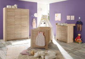 Babyzimmer Carlotta komplett Set 3-teilig Eiche sägerau