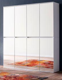 Garderobenschrank mit Spiegel Mirror in weiß mit Spiegeltüren - Schuhschrank 148 x 191 cm