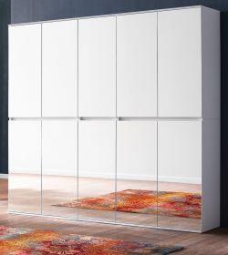 Garderobenschrank mit Spiegel Mirror in weiß mit Spiegeltüren - XXL Mehrzweckschrank 185 x 191 cm
