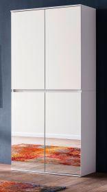 Garderobenschrank mit Spiegel Mirror in weiß mit Spiegeltüren - Schuhschrank 74 x 191 cm