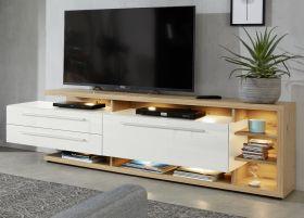 TV-Lowboard Odino in Hochglanz weiß und Asteiche / Eiche Fernsehtisch 210 x 62 cm TV-Unterteil