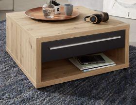 Couchtisch Odino in matt grau und Asteiche / Eiche Wohnzimmertisch 80 x 80 cm mit Ablage und Schubkasten