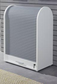 Rollladenschrank Basix in weiß und grau 70 x 94 cm abschließbar, stapelbar und drehbar