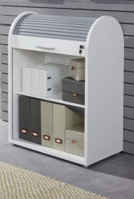 Büroschrank Rolladenschrank Basix in weiß und grau 70 x 94 cm Büromöbel abschließbar stapelbar drehbar