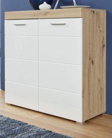 Kommode Amanda Hochglanz weiß und Eiche Asteiche Anrichte 91 x 87 cm Sideboard