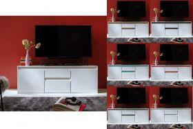TV-Lowboard Sol in Hochglanz weiß Lack mit Absetzung in 6 verschiedenen Farben Komforthöhe 150 x 54 cm