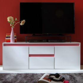 TV-Lowboard Sol in Lack Hochglanz weiß und matt altrosa TV-Unterteil 150 x 54 cm rosa Fernsehtisch