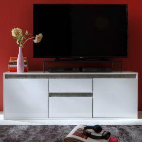 TV-Lowboard Sol in Lack Hochglanz weiß und Stone Design TV-Unterteil 150 x 54 cm grau Fernsehtisch