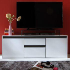 TV-Lowboard Sol in Lack Hochglanz weiß und matt grau TV-Unterteil 150 x 54 cm anthrazit Fernsehtisch
