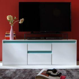 TV-Lowboard Sol in Lack Hochglanz weiß und matt mint TV-Unterteil 150 x 54 cm grün Fernsehtisch