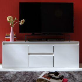 TV-Lowboard Sol in Lack Hochglanz weiß und matt weiß TV-Unterteil 150 x 54 cm grün Fernsehtisch