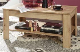 Couchtisch in Asteiche / Eiche Wohnzimmertisch mit Ablage 110 x 67 cm Beistelltisch