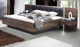 Bettanlage Bellevue in Eiche / Schlammeiche inkl. Lichtleisten und Nachtkommoden Doppelbett Liegefläche 180 x 200 cm
