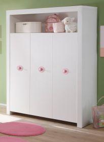 Baby- und Kinderzimmer Kleiderschrank Olivia in weiß und rosa 3-türig 130 x 186 cm