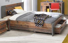 Jugendzimmer Bett Clif in Old Used Wood Shabby mit Betonoptik grau Kinderzimmer Liegefläche 120 x 200 cm