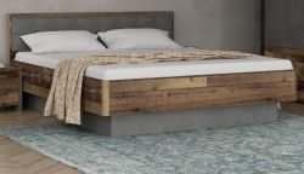 Bettanlage Clif Binou in Old Used Wood Shabby mit Betonoptik grau Doppelbett Liegefläche 180 x 200 cmv