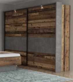 Schwebetürenschrank Kleiderschrank Clif Binou in Old Used Wood Shabby mit Betonoptik grau 2-türig 270 x 211 cm