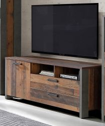 TV-Lowboard Clif in Old Used Wood Shabby mit Betonoptik grau TV-Unterteil Vintage 142 x 64 cm