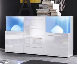 Sideboard weiß Glanz inkl. LED Beleuchtung Farbwechsel Kommode 142 cm Punch