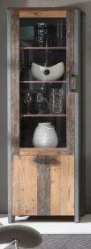Vitrine Clif in Old Used Wood Shabby mit Betonoptik grau Vitrinenschrank Vintage 62 x 205 cm