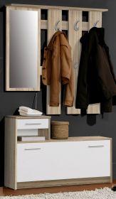 Garderoben Set Foxi 2-teilig Eiche hell und weiß 98 x 180 cm
