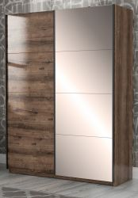 Jugendzimmer Schwebetürenschrank Jacky in Eiche / Script Schlammeiche Kleiderschrank 2-türig mit Spiegel 170 x 210 cm