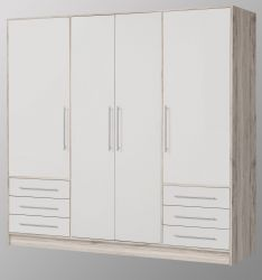 Kleiderschrank Jupiter in Sandeiche und weiß matt Drehtürenschrank 4-türig 207 x 200 cm