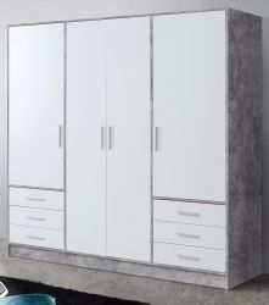 Kleiderschrank Jupiter in Stone Design grau und weiß matt Drehtürenschrank 4-türig 207 x 200 cm