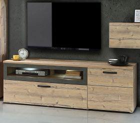 TV-Lowboard Kalomira in Bramberg Fichte und Betonoptik grau TV-Unterteil 180 x 57 cm Fernsehtisch