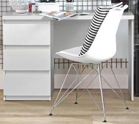 Schreibtisch Net in weiß matt Laptoptisch mit Schubkästen für Homeoffice und Büro 108 x 73 cm