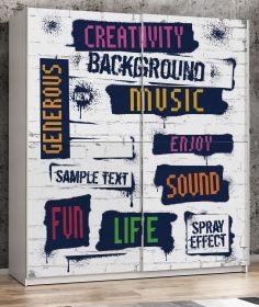 Schwebetürenschrank Plakato in weiß mit Motivdruck Creativity Kleiderschrank 2-türig 170 x 190 cm