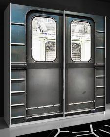 Schwebetürenschrank Plakato in weiß mit Motivdruck Metro Kleiderschrank 2-türig 170 x 190 cm