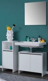 Badmöbel komplett Set Basix in weiß 3-teilig mit Waschbeckenunterschrank Kommode und Spiegel 107 x 164 cm