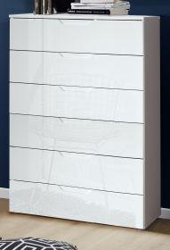 Kommode Sienna in Hochglanz weiß Anrichte 70 x 117 cm Sideboard