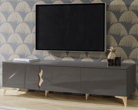 TV-Lowboard in Wolfram grau Hochglanz TV-Unterteil 180 x 48 cm Fernsehtisch 3-türig