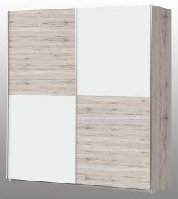 Schwebetürenschrank Winner in weiß und Sandeiche / Eiche Kleiderschrank 2-türig 170 x 191 cm