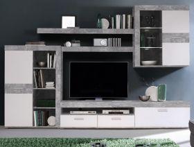 Wohnwand Zumba in Beton Design grau und weiß Anbauwand 300 x 201 cm Schrankwand 5-teilig
