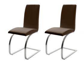 2 x Stuhl Maui in Braun Leder und Edelstahl Freischwinger Flachrohr Esszimmerstuhl 2er Set