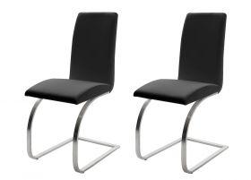 2 x Stuhl Maui in Schwarz Leder und Edelstahl Freischwinger Flachrohr Esszimmerstuhl 2er Set