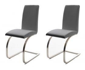 2 x Stuhl Maui in Grau Leder und Edelstahl Freischwinger Flachrohr Esszimmerstuhl 2er Set