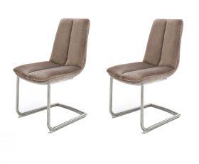 2 x Stuhl Grigor in Cappuccino Veloursoptik und Edelstahl Freischwinger mit Griff hinten Esszimmerstuhl 2er Set