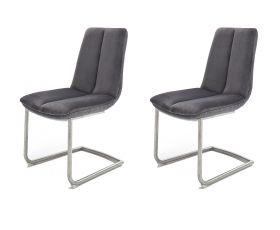 2 x Stuhl Grigor in Grau Veloursoptik und Edelstahl Freischwinger mit Griff hinten Esszimmerstuhl 2er Set