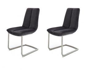 2 x Stuhl Grigor in Schwarz Veloursoptik und Edelstahl Freischwinger mit Griff hinten Esszimmerstuhl 2er Set