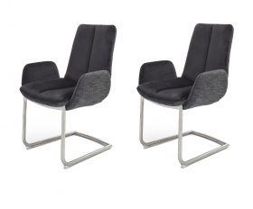 2 x Stuhl Grigor in Schwarz Veloursoptik und Edelstahl Freischwinger mit Griff hinten 2er Set Armlehnenstuhl