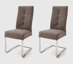 2 x Stuhl Salva in Sand Vintage und Edelstahl Freischwinger Luxus Komfortsitz Esszimmerstuhl 2er Set
