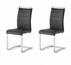 2 x Stuhl Pescara in Schwarz Kunstleder und Edelstahl Freischwinger mit Griffleiste Flachrohr Esszimmerstuhl 2er Set