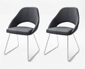 2 x Stuhl Dajana in Anthrazit Kunstleder und Edelstahl Kufenstuhl Esszimmerstuhl 2er Set