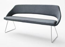 Sitzbank Dajana in Graublau Kunstleder und Edelstahl Küchenbank mit Kufengestell Polsterbank 180 cm