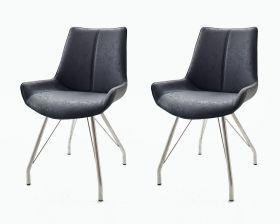 2 x Stuhl Danita in Anthrazit Vintage Kunstleder und Edelstahl 4-Fuß Gestell Esszimmerstuhl 2er Set Schalenstuhl