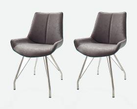 2 x Stuhl Danita in Grau Vintage Kunstleder und Edelstahl 4-Fuß Gestell Esszimmerstuhl 2er Set Schalenstuhl